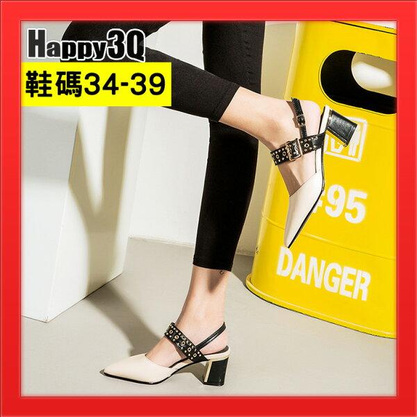 尖頭女鞋涼鞋一字扣粗跟女鞋7CM高跟女鞋鉚釘帥氣個性女鞋-黑白34-39【AAA4108】