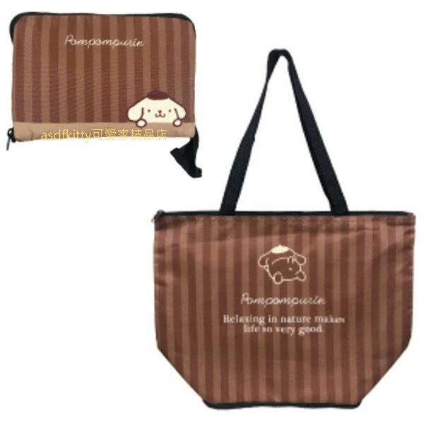 asdfkitty*布丁狗可折疊收納保溫保冷手提袋/購物袋-日本正版商品