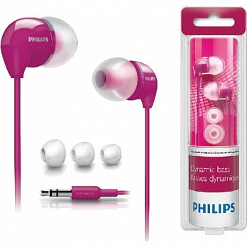 PHILIPS 飛利浦 SHE3590系列 多彩內耳式耳機 粉紅/白