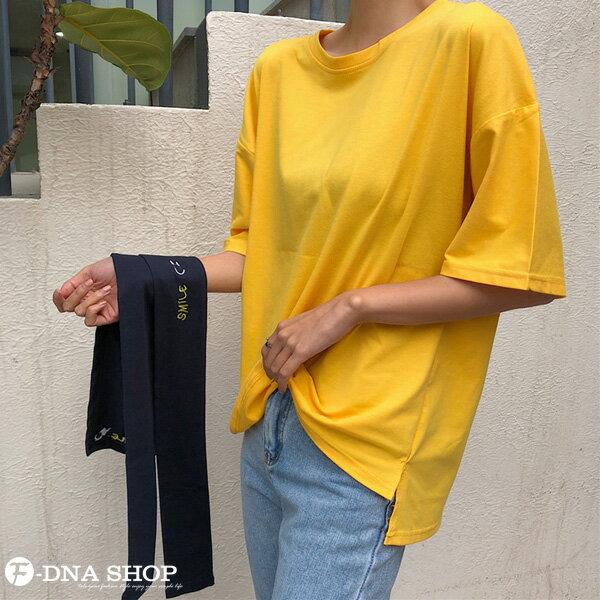 F-DNA★刺繡微笑可拆兩件式披肩圓領短袖上衣T恤(2色-M-2XL)【ET12690】 7