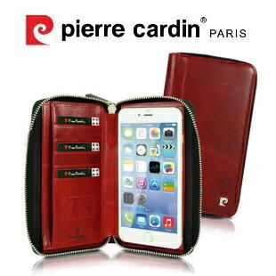 [ iPhone/Samsung/HTC/Sony ] Pierre Cardin法國皮爾卡登5.5吋多功能吸盤式拉鍊包款手機套/保護套/皮套 可收納卡片 紅色