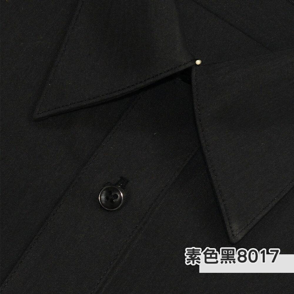 男士抗皺襯衫-長袖,素色黑,編號:8017
