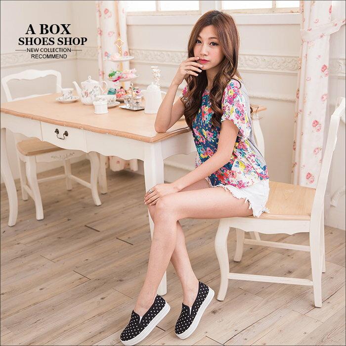 【AR1517H】韓版優質 俏皮可愛點點 鬆緊好穿脫 厚底休閒便鞋懶人鞋 樂福鞋 3色 1