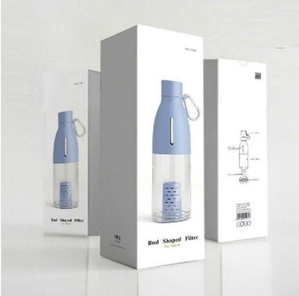 【小資屋】Bud Shaped Filter Tea Tumbler 時尚泡茶杯(淺藍色)490ml