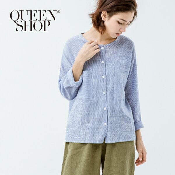 Queen Shop【01022700】藍白細條紋雙口袋長袖襯衫*預購*