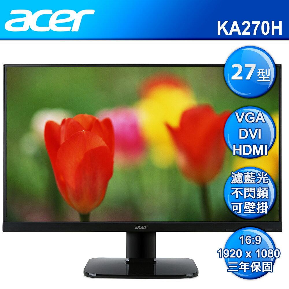 acer KA270H A 27型 VA 薄邊框護眼電腦螢幕 LED【8/17 限定點數最高20倍!全家超取免運‧首購滿699贈100點(1點=1元)】