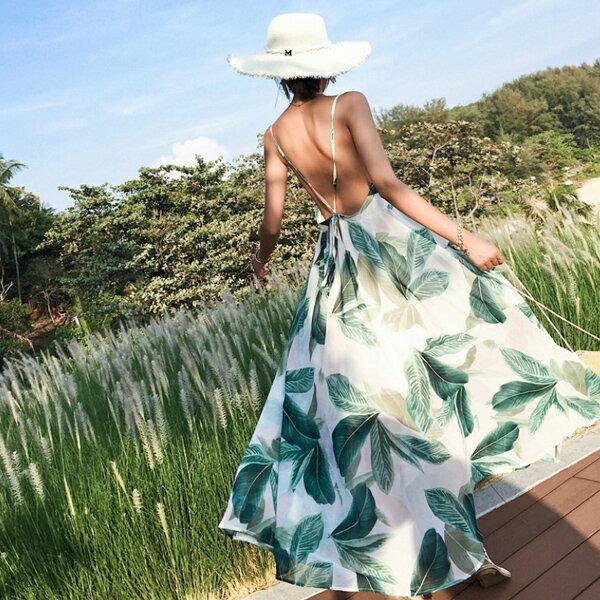 PS Mall 露背吊帶雪紡連身裙波西米亞長裙海邊度假洋裝【T480】 0