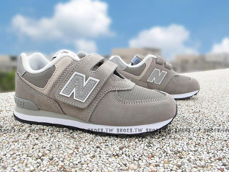 《下殺6折》Shoestw【YV574GG】NEW BALANCE 574 童鞋 運動鞋 中童 灰銀白 黏帶