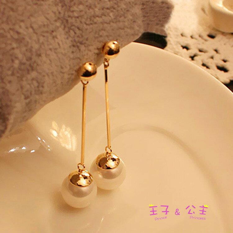 鍍金長款珍珠耳環EC2049~~~~ 日韓  耳飾  飾品  水鑽  鋯石  鋯鑽  水晶
