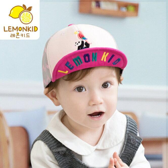 Lemonkid◆時尚百搭動物樂園刺繡彩色字母翻帽沿軟沿兒童帽-粉色