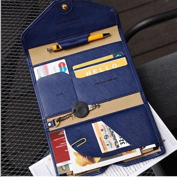 PS Mall 韓國 多功能氣質超薄軟皮短款護照包 卡片包 零錢包 小方包【J1542】