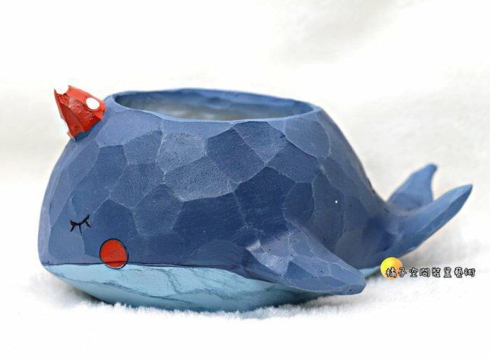 [橘子空間裝置藝術] 超可愛 獨角鯨魚 藍鯨 微景觀小花器☆人造花.插花配件.居家.店面.櫥窗.玄關擺飾.園藝資材用品☆
