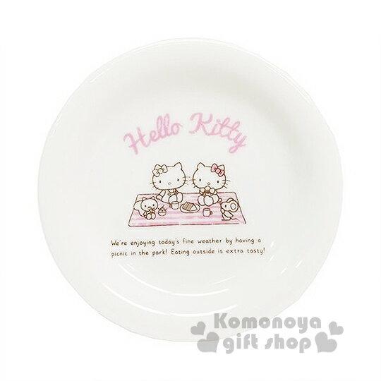 〔小禮堂〕Hello Kitty 日製陶瓷迷你點心盤《白粉.姊妹.野餐》日本金正陶器