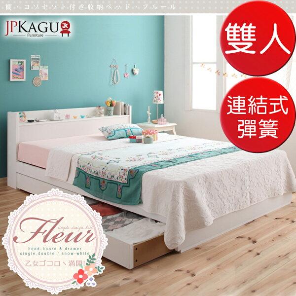 TheLife 樂生活:JPKagu台灣尺寸少女系附床頭櫃插座抽屜收納床組-連結式彈簧床墊雙人5尺(BK119085)
