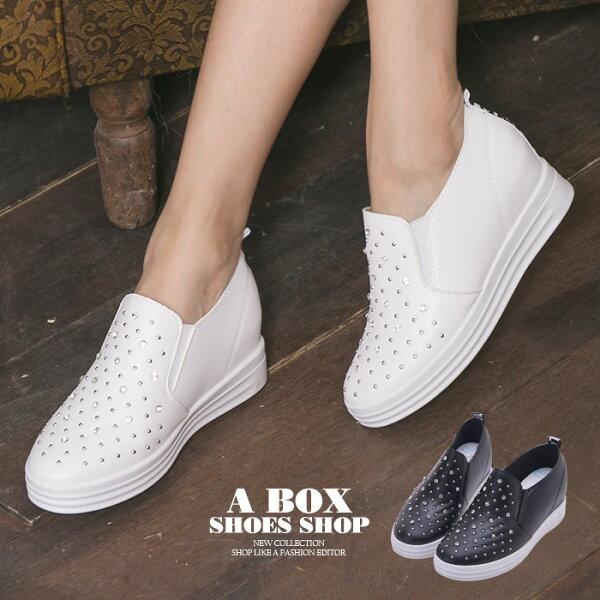 格子舖:【KT612】低調奢華水鑽皮革2.5CM隱形內增高V口鬆緊厚底3CM休閒鞋懶人鞋2色