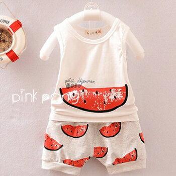 【Pink Pony】夏款清涼西瓜背心上衣+西瓜小短褲 套裝組