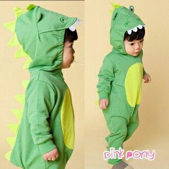 立體綠恐龍包屁衣/連身衣