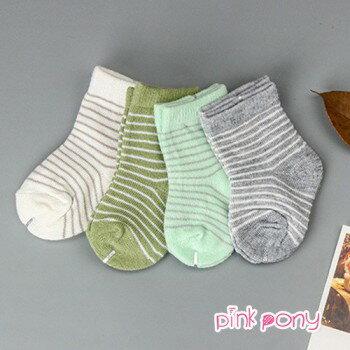 【Pink Pony】純棉糖果色橫條短襪/童襪(0-3歲)