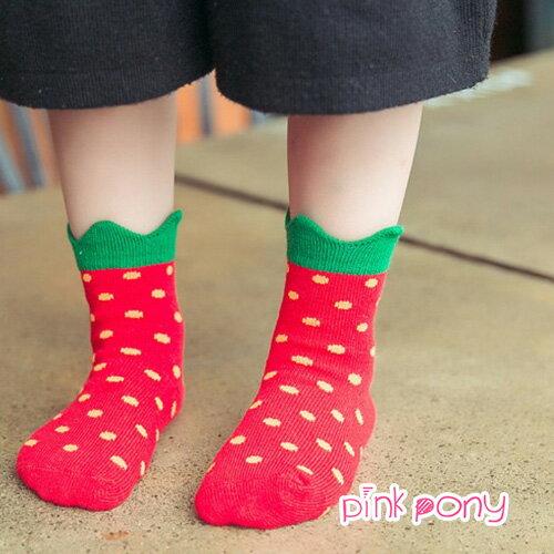【Pink Pony】棉質可愛田園草莓短筒襪
