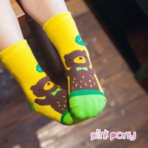 【Pink Pony】棉質可愛呆熊中筒襪 顏色隨機