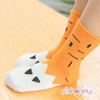【Pink Pony】可愛腳爪拼色純棉短筒襪 顏色隨機