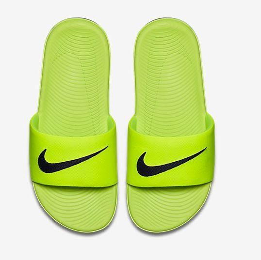 NIKE KAWA SLIDE 童鞋 大童 拖鞋 輕量 舒適 螢光綠 黑【運動世界】 819352-700