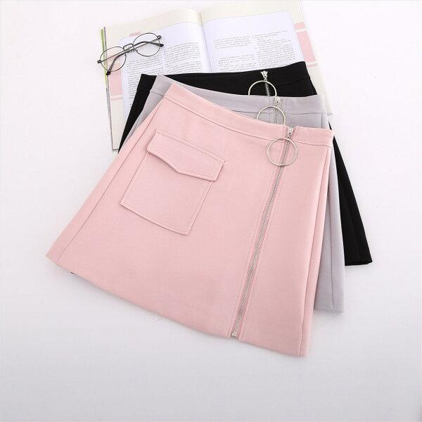 FINDSENSE G5 韓國時尚 短裙 百搭 拉鍊 A字裙 高腰 包臀 半身裙 短裙