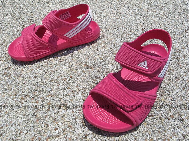 Shoestw~AF3867~ADIDAS 童鞋 涼鞋 小童 AKWAH 9 雙黏帶 桃紅