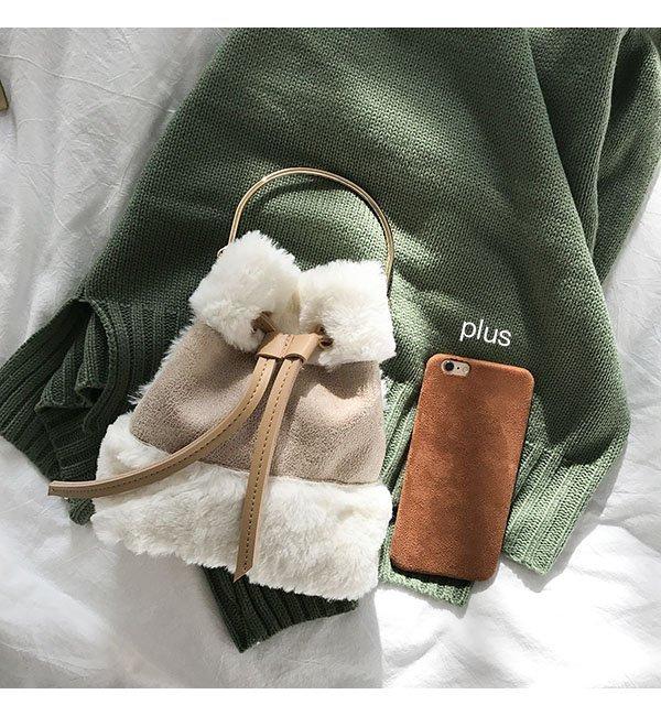 韓版可愛毛毛手提包迷你水桶包復古撞色單肩包斜背包 3