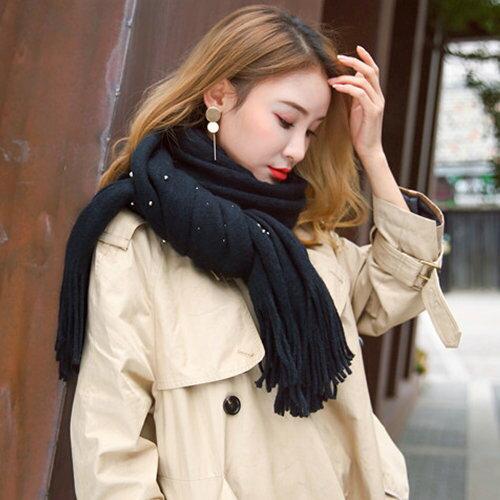 BOBI:圍巾釘珠珍珠素色流蘇保暖披肩圍巾【CE005】BOBI1228