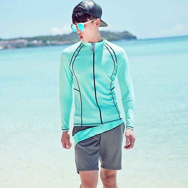 男泳裝 線條 沙灘 運動 防曬 外套 兩件套 男 長袖 泳裝【SFM2115】 BOBI  05/17
