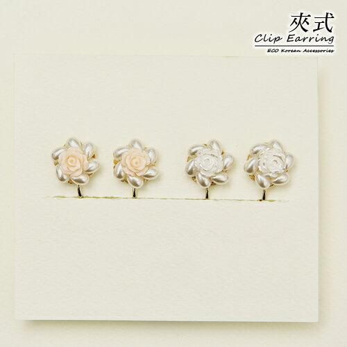 (預購)ECO安珂.浪漫玫瑰小捧花 夾式耳環(2色/螺旋夾)/針式耳環【2-1759】