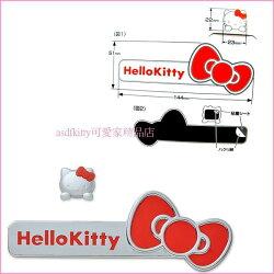 asdfkitty可愛家☆KITTY標誌貼 KT464版-機車-腳踏車-汽車-家中大門-冰箱都可用-日本正版
