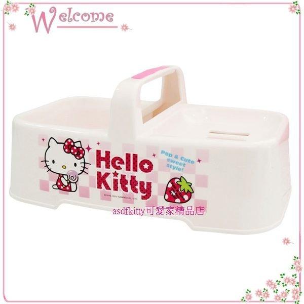 asdfkitty可愛家☆KITTY棒棒糖高低肥皂盒-置物籃-香皂架-放洗衣刷菜瓜布-韓國製