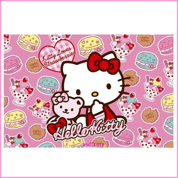 廚房【asdfkitty可愛家】KITTY粉色小熊野餐墊-90*60公分-日本版正版商品