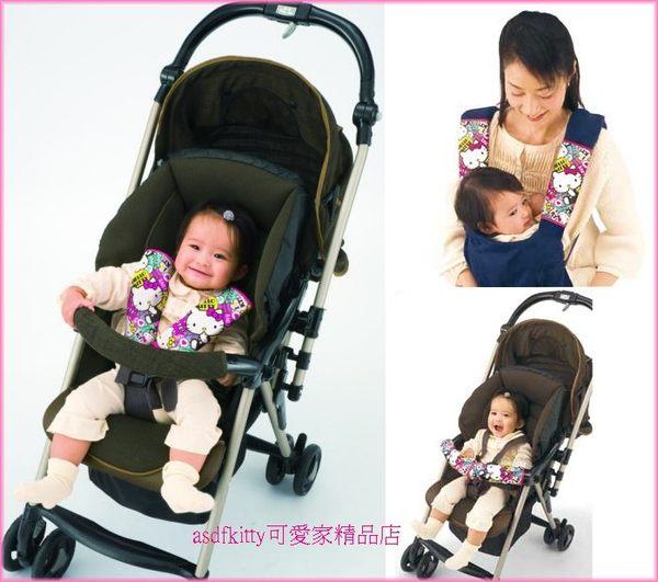 asdfkitty可愛家☆KITTY安全帶保護套-嬰兒手推車/汽車安全座椅.嬰兒背帶-都可用-日本正版