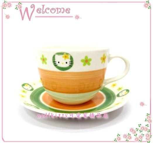 廚房【asdfkitty】KITTY NIKKO絕版橘色普普風咖啡杯盤組-1999年絕版商品-日本製