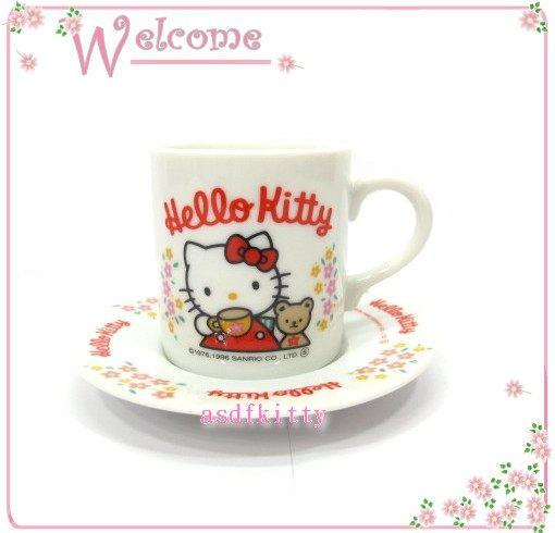 廚房【asdfkitty可愛家】KITTY好朋友版陶瓷義式咖啡杯組-1996年絕版商品-日本製