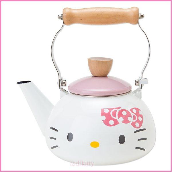 asdfkitty可愛家~KITTY大臉琺瑯水壺 茶壺~可燒開水跟泡茶~電磁爐 ~