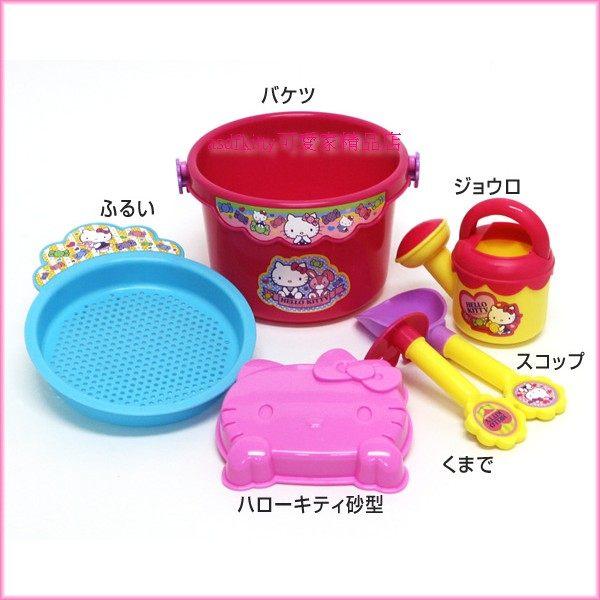 asdfkitty可愛家☆KITTY沙灘挖砂玩具組-洗澡玩具.有水桶.澆水器.耙子.鏟子.模型-日本正版