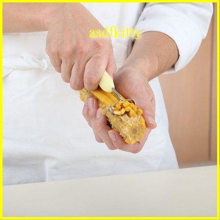 廚房【asdfkitty】貝印Broad Beans不鏽鋼剝玉米粒刮刀-做玉米濃湯.沙拉-日本正版