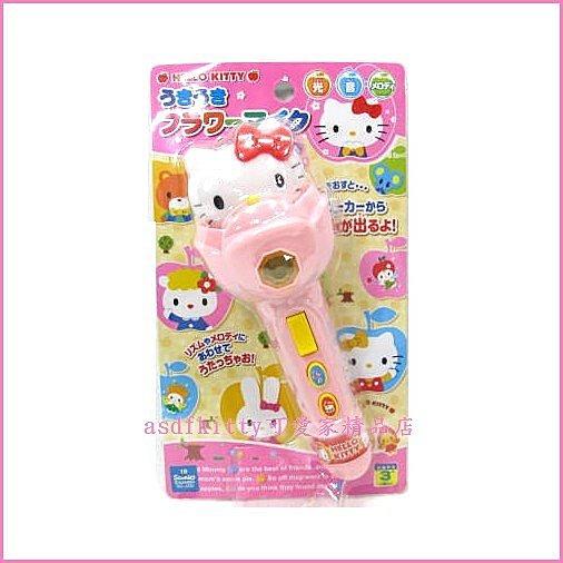 個人【asdfkitty】KITTY粉色花型音樂聲光麥克風唱歌玩具-日本正版商品