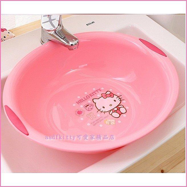 衛浴【asdfkitty可愛家】KITTY側坐點點橢圓型洗臉盆-韓國製-可洗貼身衣物歐