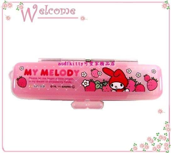 asdfkitty可愛家☆美樂蒂印章盒-草莓版-有印泥歐-日本正版商品全新