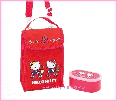 廚房【asdfkitty】kitty便當袋+便當盒-腳踏車-保鮮盒-保冷保溫手提.斜背.肩背包