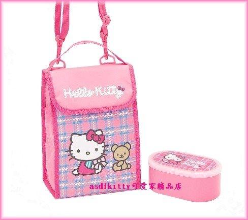 asdfkitty可愛家☆超低價出清-kitty便當袋+便當盒-小熊-保鮮盒-保冷保溫手提.斜背.肩背包