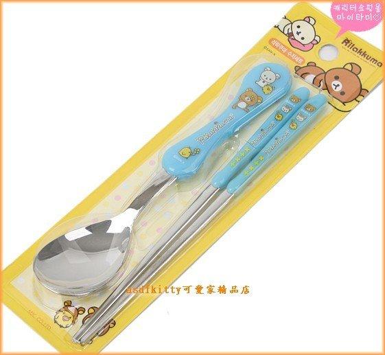 廚房【asdfkitty可愛家】懶懶熊/拉拉熊藍色湯匙+筷子/膠柄不鏽鋼-韓國製