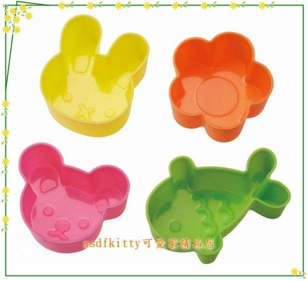 asdfkitty可愛家☆日本MSA 金魚小兔小花小熊 矽膠模型-手工皂.果凍.便當菜隔盒-日本正版