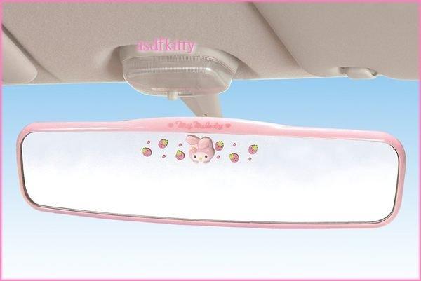 汽車用品【asdfkitty可愛家】美樂蒂廣角粉草莓後視鏡-後照鏡-日本正版