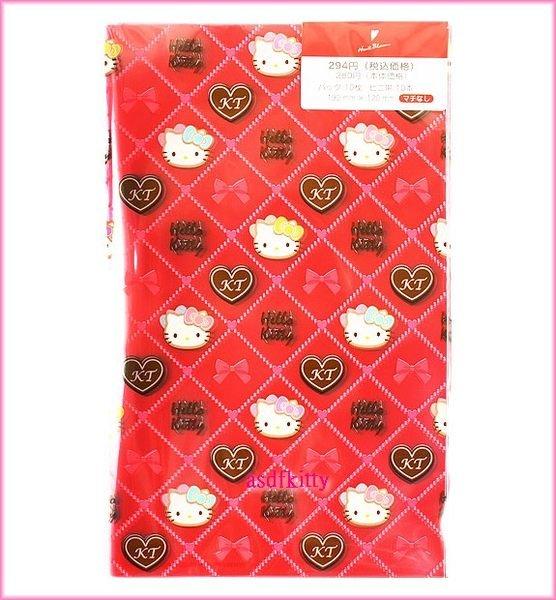 廚房【asdfkitty可愛家】KITTY菱格紋透明扁平塑膠包裝袋M號/點心袋/餅乾袋-附紅綁帶-日本製